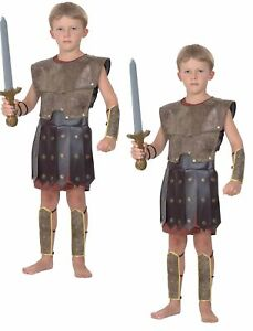 Warrior Childs Costume Roman World Book Day Boys Kids Fancy Dress Outfit