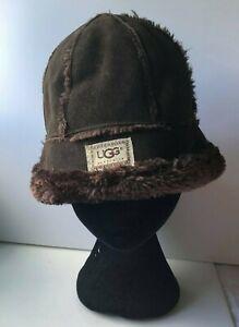 UGG AUSTRALIA Brown Suede Bucket Sheepskin Winter Hat One Size(O3)