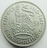 1938 E GB George VI, silver One Shilling, Grading About UNCIRCULATED.