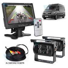 """Kit Retromarcia cablato con 2 Retrocamere e 1 Monitor 7"""" per Furgone Camion 10mt"""