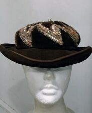 The Blum Store Collection Vintage Brown Velvet Hat With Sequence, Bead Work