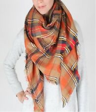 Orange and Multi Colored Oversized Plaid Scarf