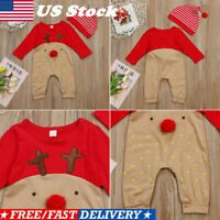 US Newborn Baby Boy Girl Christmas Jumpsuit Clothes Reindeer Romper Outfits+Hat