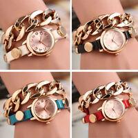 1PC Punk Women Gold Dial Leather Chain Wrap Analog Quartz Wrist Watch Bracelet S