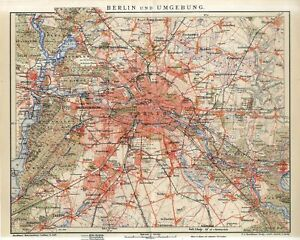 1901 GERMANY BERLIN CITY PLAN and SUBURBS Antique Map dated