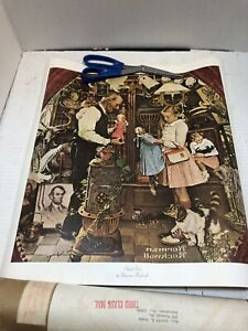 """2 Norman Rockwell (Litho in USA) April Fool """"The Curiosity Shop"""" Rolled Up"""