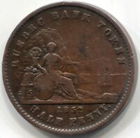 1852 PROVINCE OF CANADA HALF PENNY QUEBEC BANK TOKEN