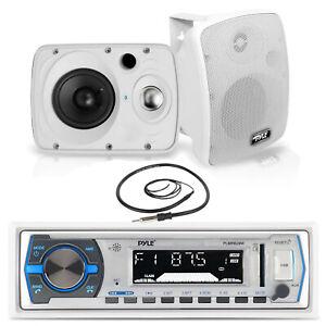 "Pyle Bluetooth USB Boat Radio,6.5"" 800W Pyle Marine Box Speakers, Marine Antenna"