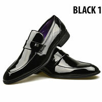 Mens Black Leather Patent Shoes Italian Formal Dress Casual UK 6 7 8 9 10 11
