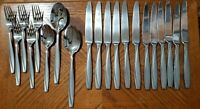 Oneida CAMLYNN Stainless Flatware Frosted Forks Spoons Knives Lot of 20