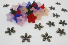 Acrylic Bell Flower Beads with matching Antique Bronze Leaf Bead Caps 48 pieces