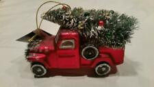 Red Pickup Truck with Tree Christmas Holiday Ornament