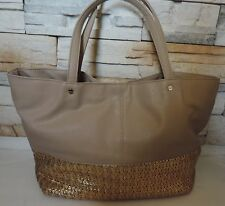 New deux lux Biscayne faux leather gold woven straw tote shoulder bag handbag