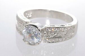 925 Sterling Silver 1.5ct CZ Ring 7mm x 8mm Oval AAA Grade