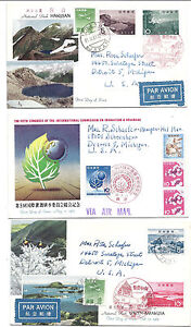Japan FDC VIA Airmail Lot of 3 - Addressed to Michigan USA, 1963 National Parks