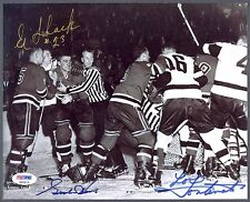 GORDIE HOWE EDDIE SHACK LOUIS FONTINATO SIGNED RED WINGS 8X10 PHOTO AUTO PSA DNA