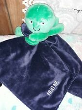 Carters Hug Me Green Octopus Navy Blue Baby Blanket Plush Satin Rattle Lovey