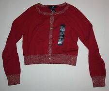 New Gap Kids Red Gold Glitter Trim Cardigan Sweater Size Small 6-7 Years NWT