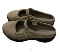 LL Bean Walking Comfort Shoes Suede Leather Beige Womens 7.5 M Mary Jane Strap