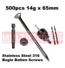 500pcs - 14g x 65mm Stainless Steel SS316 Bugle Head Batten Screws + SmartBit