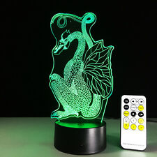 Chinese Style Paper Cut Dragon 3D Night Light 7 Color Change LED Table Lamp