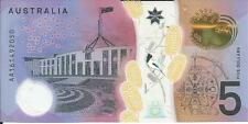 **2016 First Prefix AA Australian $5 note UNC **