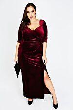 Scarlett & Jo London Velvet Maxi Dress Size 26/28 Uk BNWT RRP £72.99 Cranberry
