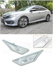 For 16-Up Honda Civic CRYSTAL CLEAR Bumper Reflector Side Marker Lights Lamps