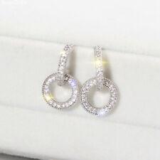 18K Gold Plated CZ Double Circle Drop Dangle Butterfly Earrings Women Jewelry