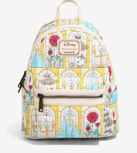 🔥Loungefly Disney Beauty and the Beast Stained Glass Mini Backpack New W Tags