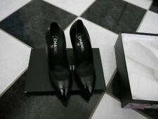 NIB 100% AUTH Chanel 14C G29702 BLACK LEATHER CAP TOE PUMPS $795 SZ 39