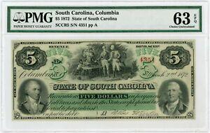 1872 Cr.5 $5 The State of SOUTH CAROLINA Note - PMG Ch.CU 63 EPQ