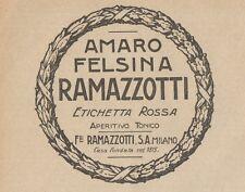 Z1485 Amaro FELSINA RAMAZZOTTI - Pubblicità d'epoca - 1927 Old advertising