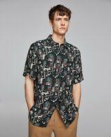 New ZARA Black Multi Flowing tropical shirt Relaxed Fit Monkeys Birds Trees