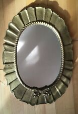Vintage Oval Mirror Ornate Gilt Frame Quirky Unusual Rococo Style Design 56cm H