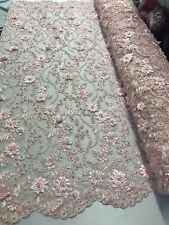 Floral - Embroidered Flower Mesh & Pearls Lace Fabric Pink By The Yard