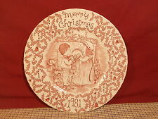 "Royal Crownford China Merry Christmas Pink 8 3/4"" Salad Plate 1981"