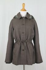 Alberta Ferretti Wool Blend Parka Coat Removable Plush Lining & Hood Italy 6 42