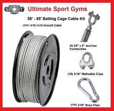 85' Baseball Softball Batting Cage Nets Cable Kit Heavy Duty Indoor Outdoor