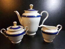 Vintage Cobalt Blue Gold Tea Set 1952 Germany Tea Pot Cream Sugar MINT CONDITION
