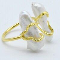 Aylas ottoman semi precious gem stone Baroque Pearl gold ring.