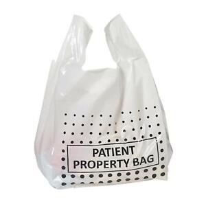 Patient Property Carrier Bags - Polythene Plastic Vest Punch Handle