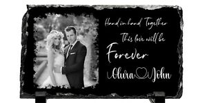 Personalised Photo And Text Rock Slate 22x12cm Anniversary Wedding Gift