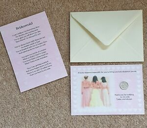BRIDESMAID THANK YOU PRESENT/GIFT LUCKY SIXPENCE & POEM IDEAL KEEPSAKE