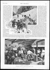 1895 - Antique Print FRANCE Frontier Troops Alps Alpine Barracks Avalanche (166)