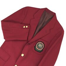 J Press Men's Exclusive Red Preppy Wool Sport Coat Jacket With Raised Crest