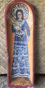 "Vintage Ramos Filemon Mexican Folk Art Painted Wood Batea Angel 22"" Long 7"" Wide"