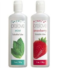 Oralove Dynamic Duo Mint & Strawberry Oral Sex Lickable Lubes