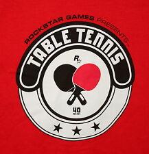Vtg RockStar Table Tennis Video Games Promo Red T-Shirt NOS Unused Sz LG