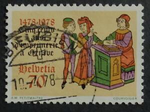 timbre poste. Suisse. n°1048. 500 ans d'imprimerie à Genève. année 1978